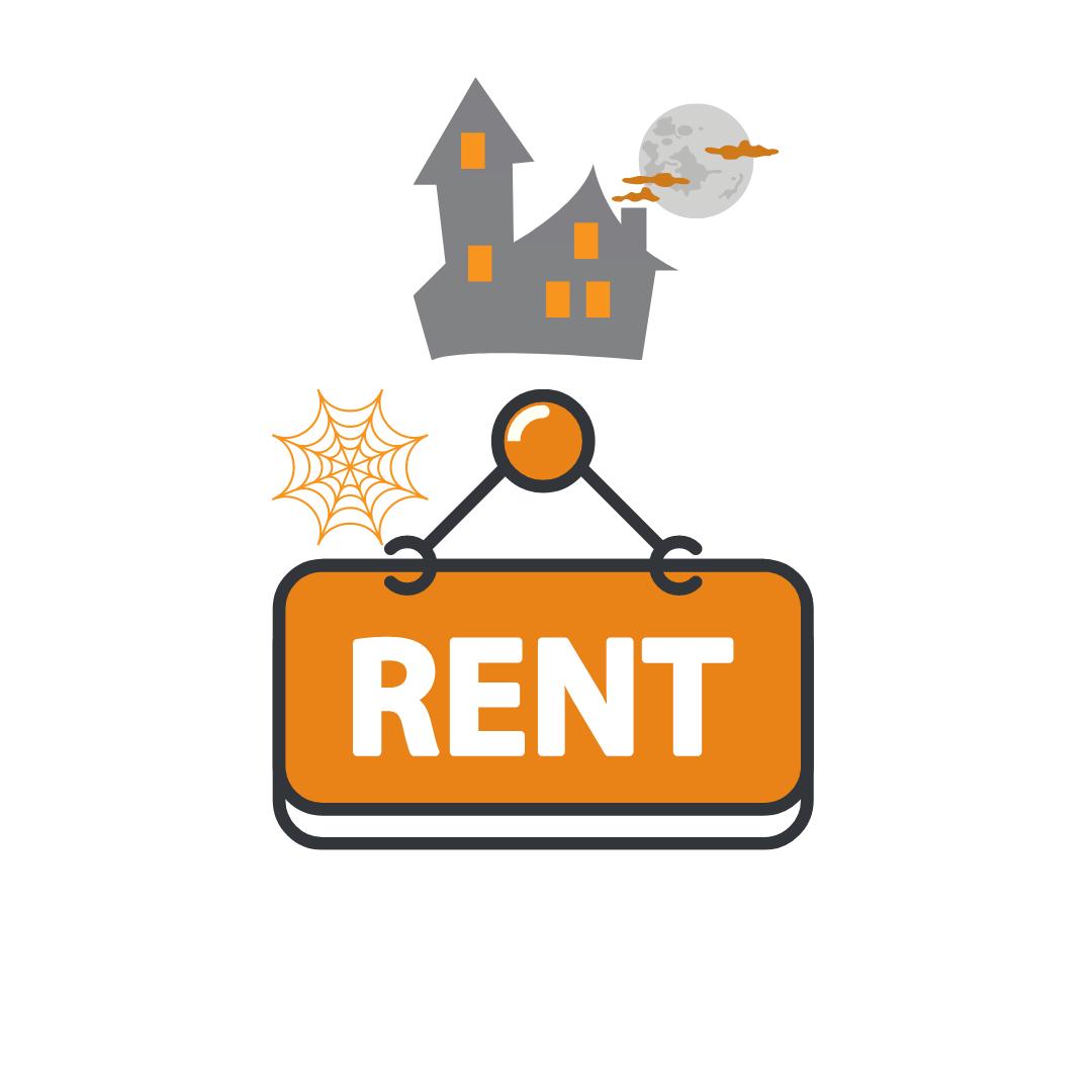 spooky halloween house and rent cartoon tenants image orange